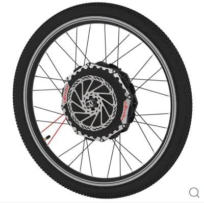 iMortor 2.0 24 V 27.5 inch Electric Front Bicycle Wheel - BLACK US PLUG