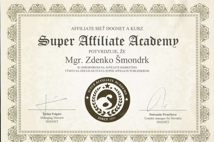 Super Affiliate Academy Dognet.sk Diplom